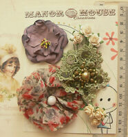 RED GREEN PLUM & CREAM 9 Flowers & Roses 7 Styles PAPER & SILK 15-70mm VA5