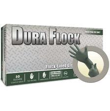 Microflex Duraflock Flock Lined Ind. Grade Nitrile Gloves Large Dura Flock 608