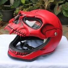 Motorcycle Helmet Skull Red Monster Skeleton Visor Flip Up Open Face S-XXL