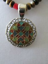 Inlaid Sterling Silver Pendant Relios Pendant Carolyn Pollack beaded necklace