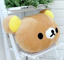 funny Rilakkuma San-X Relax Bear Head Plush 2in1 Cushion Pillow Brown kids gifts