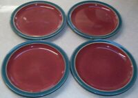 SET of 4  DENBY  HARLEQUIN DINNER PLATES RED / GREEN 10 1/4 inches across