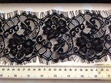 "NEW Jet Black Eyelash Floral Lace Fabric 5"" 13cm Fringe Trimming Craft Ooh La La"