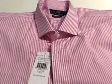 "Ralph Lauren Polo Cotton Pink Stripe Shirt 17"" Long Sleeve Custom Fit"