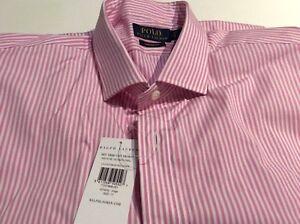 "BNWT New Ralph Lauren Polo Cotton Pink Stripe Shirt 17"" Long Sleeve Custom Fit"