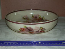 """Signed HAVA SCHLESINGER Hand Painted 9"""" Pottery Bowl Purple Pink Flowers~Israel"""