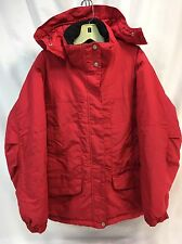 LL Bean Womens Ski Snowboard Parka Red Coat Winter Snow Jacket Hooded Nylon EUC