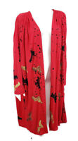 Vintage 80s Bibs Artwear Kimono One Size Plus Handpainted Rayon Open Jacket Red