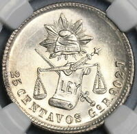 1890-Go NGC MS 65 Mexico 25 Centavos Highly Lustrous Silver Coin (18082303C)