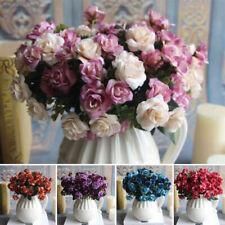 15 Heads Pretty Artifical Silk Rose Flower Bouquet Home Wedding Party Decor