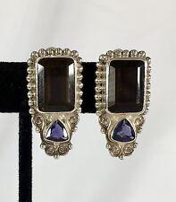 Sajen Smokey Topaz Clip Earrings... Sterling Silver 925 Bold & Gorgeous. Unworn!