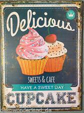 Plaque en tôle Panneau Délicieux muffin cupcake bonbons & café déco cuisine
