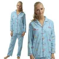 Ladies Blue Flannelette Wincey PJs Pyjama Set Warm Winter Pajamas 100% Cotton