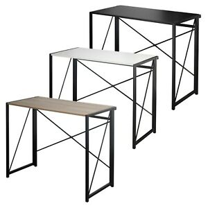 Rectangle Wooden Folding Table Steel Legs Computer Work Office Desk Bedroom
