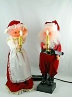 """VTG Animated Mr and Mrs SANTA CLAUS 1988 Lighted Motion-ettes FIGURES  26"""""""