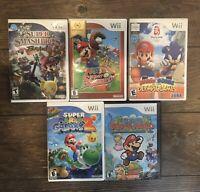Nintendo Wii Mario Game Lot X5 Sluggers Olympics Galaxy 2 Paper Smash Bro Brawl