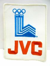 "1980 LAKE PLACID WINTER OLYMPICS LOGO BLUE & WHITE JVC SPONSOR PATCH 5"" X 6.5"""