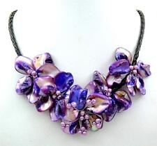 Natural Purple Flower Mother of Pearl Pendant Beads Necklace Women Jewelry CA414
