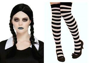 New Black Plait Plaited Wig Socks Addams Family Wednesday Halloween Fancy Dress