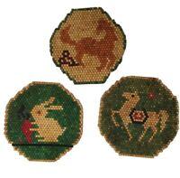 3 Wood Beaded Bead Trivets Horses Rabbit Vintage