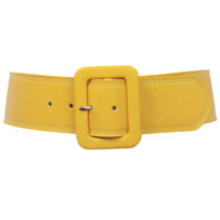 Beltiscool High Waist Rectangular Stitch Edged Leather Belt L/XL Yellow BNWT