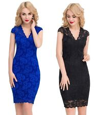 New Gorgeous Blue Black Lace Midi Dress Cocktail Evening Formal Womens 8 - 16