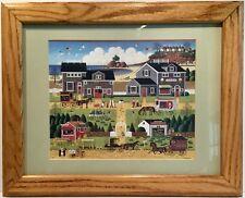 "Charles Wysocki Framed Print Matted ""Westcott's Black Cherry Harbor"" 17"" X 20"""