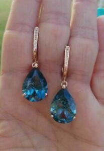 4Ct Pear Cut Blue Topaz Solitaire Drop/Dangle Earrings 14K Yellow Gold Finish