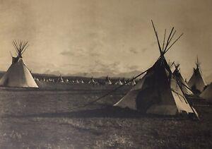 Vintage 1900/72 Edward Curtis PIEGAN ENCAMPMENT Sepia Photographic Art Print