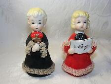 Vintage Porcelain Figurine Christmas Couple Singing w Cross Glass Lace Japan