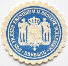GERMANY LOCAL LABEL ENVELOPE SEAL, Kön.Pr.Ober Präsidium Provinz Schlesien (6764