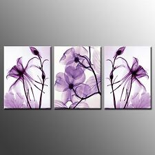FRAMED Canvas Print Art Poster Purple Flowers Painting Wall Art Home Decor-3pcs