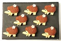 HEDGEHOG GIRL Animal - Set of 8 Handmade Decorative Memo Board Magnets