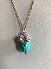 """ACCESSORIZE 28"""" Gold Tone Flower Pendant Necklace Blue Lilac BNWOT (A557)"""