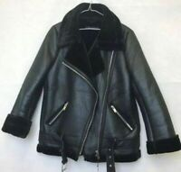 Ladies Women Sheepskin Leather Synthetic Shearling Fur Aviator Biker jacket