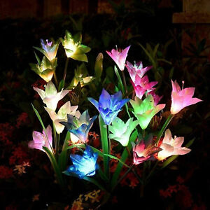 4 LED Solar Power Lily Flower Stake Lights Outdoor Garden Path Luminous Lamps UK