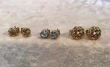 M&S Gold Plated Stud Set 3 Pairs Earrings Pierced Ears Hypo Allergenic Skin Kind
