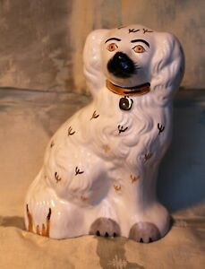 """Large 7.5"""" Staffordshire Beswick Pottery Type White King Charles Spaniel"""