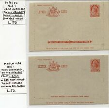 More details for australia  letter cards 1953-59 lc50, 52/3 & 58 mint