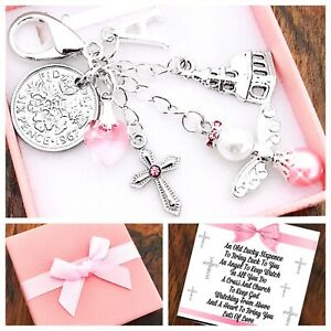 GODDAUGHTER Gift, LUCKY SIXPENCE, CHRISTENING Gift, Gift Box & Card INITIAL