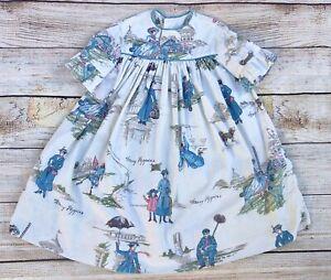 VTG Toddler Girl Manes Co Walt Disney Mary Poppins Fabric 1964 Handmade Dress