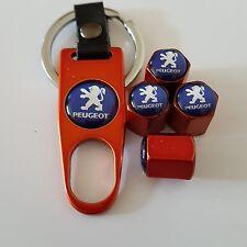 Peugeot Wheel Valve Dust caps Alloy Spanner Keychain Boxed Orange all models 207