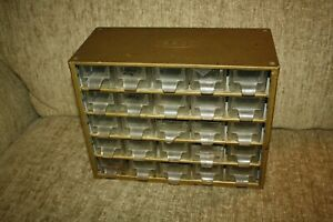 Vtg GOLD RACCO DENMARK Storage Cabinet 25 Drawers nuts bolts BEADS JEWELRY