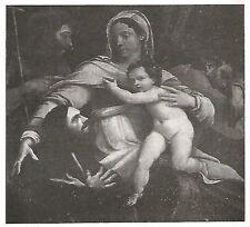 D0359 Sebastiano del Piombo - Sacra Famiglia - Stampa del 1929 - Old Print