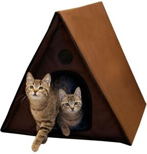Cat House Outdoor Kitty A-Frame House Waterproof Fabric 2 Exits Brown Shelter