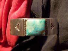 VINTAGE Handcrafted Sterling Silver TURQUOISE BRACELET, SIGNED BY ARTIST