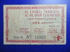 BILLETE DE 1 PESETAS  DE 1937  VILLANOVA I LA GELTRU
