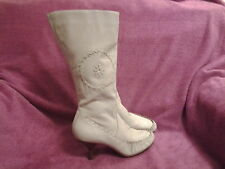 Ladies Women's Cream Leather Boots Size 6, River Island, Mid Calf, Moccasin