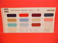 1957 LINCOLN PREMIERE CONVERTIBLE CAPRI HARDTOP COUPE SEDAN PAINT CHIPS CHART MS