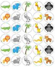 30 x Zoo Wild Animals Cupcake Toppers Edible Wafer Paper Fairy Cake Toppers